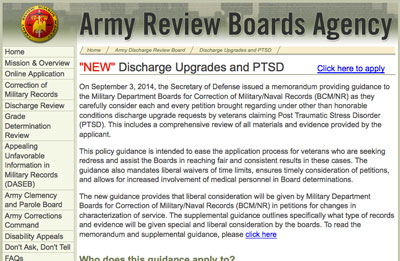 Army Review Boards Agency discharge upgrades