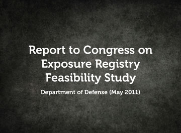 Report to Congress on Exposure Registry Feasibility Study