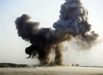 Mustard Gas dump explosion in Iraq